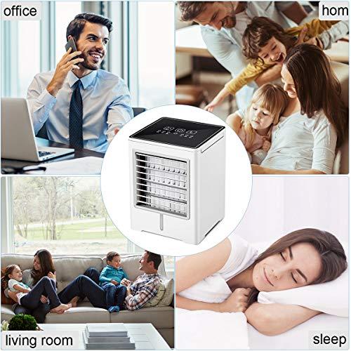 Tragbare Mobile Klimaanlage, Mini Luftkühler, 4in1 Air Cooler mit Touchscreen, 3 Geschwindigkeiten, Desktop Mini Air Verdunstungsgerät für Zuhause, Drinnen, Küche