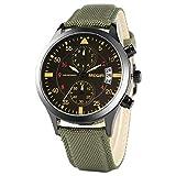 Yisuya Reloj de pulsera militar de cuarzo con correa de nailon, cronógrafo, resistente al agua, ideal para practicar deportes, color verde
