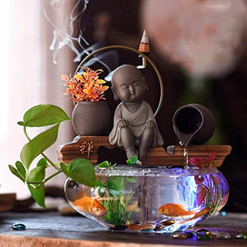 TANERDD Aquarium Zen Aquarium Ökologisches kreatives Aquarium Wohnzimmer Mini Glas Desktop Landschaftsbau Aquarium Home Decoration Backflow Duftend,2