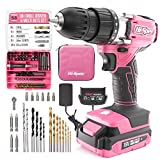Hi-Spec 58 Piece 18V Pink Drill Driver & Multi Bit Set. DIY Cordless...