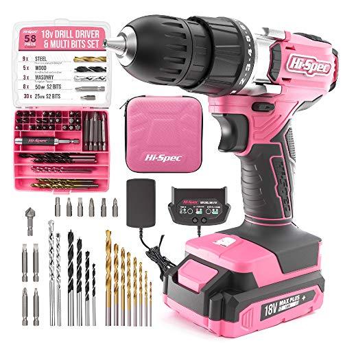 Hi-Spec 58-teiliger 18V-Bohrertreiber & Multi-Bit-Satz Pink Rosa. DIY Akkuschrauber & Bohrmaschine mit S2 Stahl-Bit-Satz für Metall, Holz & Mauerwerk