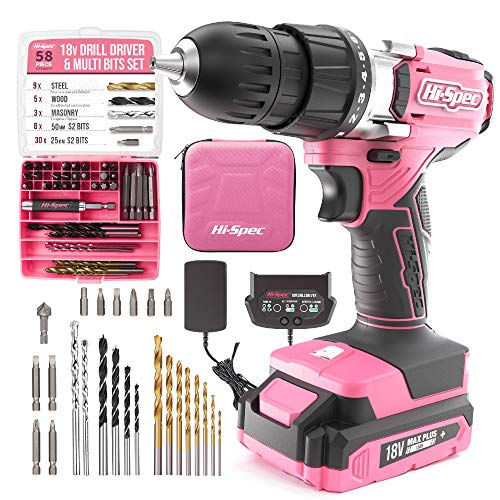 Hi-Spec 58 Piece 18V Pink Drill Driver & Multi Bit Set. DIY Cordless Screw & Drilling Power Tool with S2 Steel Bit Set for Metal, Wood & Masonry. All in a Storage Zipper Case