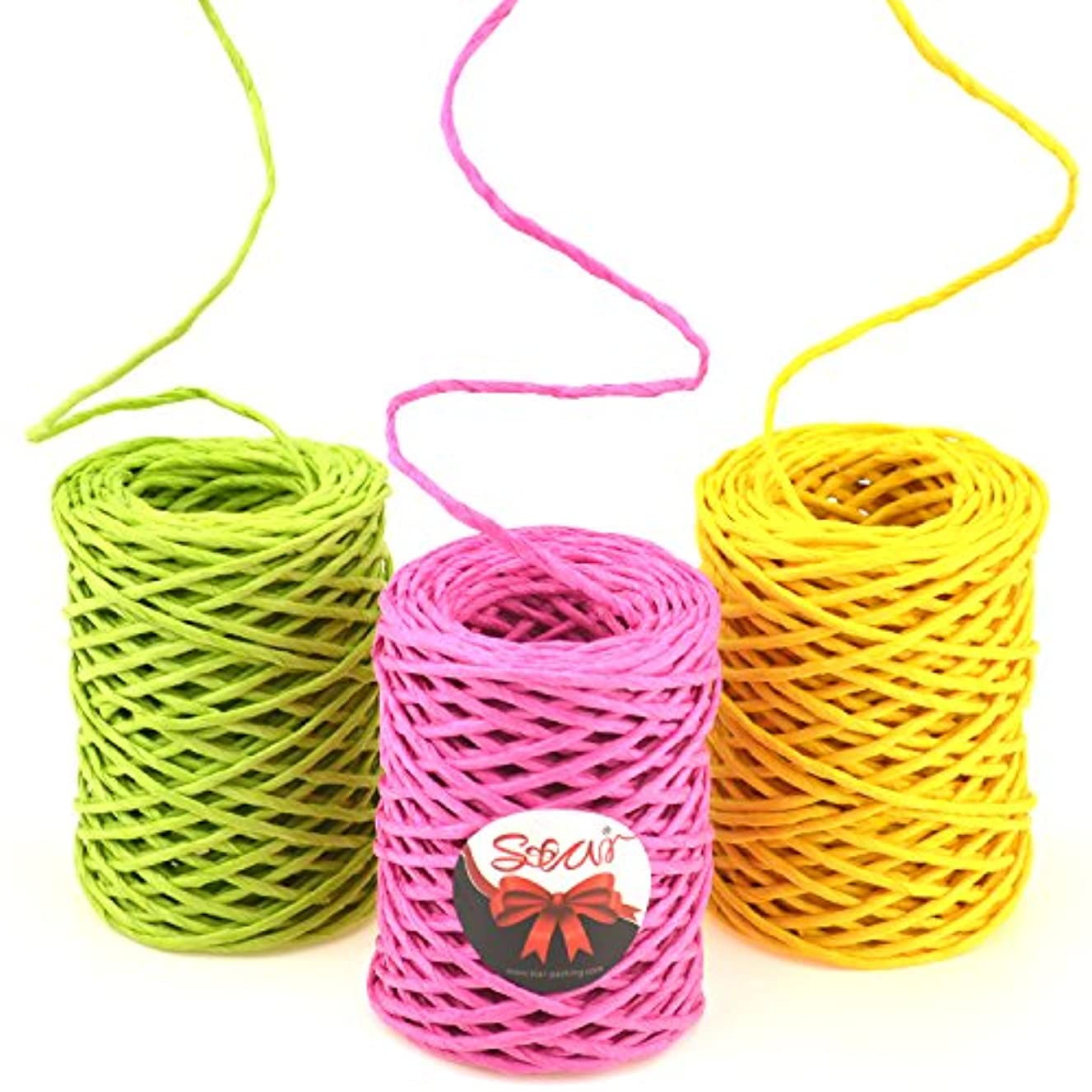 Star Quality 2mm Thick Paper Twine 3 Rolls of 30 Yards | 3 Colors Paper String for Binding | Kraft Paper Rope for Gift Wrap and DIY Projects (Hot Pink/Daffodil Yellow/Greenery, 30Yards x 3 Rolls)