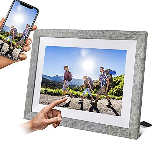WiFi Digitaler Bilderrahmen 10.1 Zoll 1920*1200 HD IPS,Touch Elektronischer Bilderrahmen 16GB Automatische Drehung,Teilen Sie Fotos oder Videos über die App,Smart Fotorahmen Wetter/Uhr/Kalender,Weiß