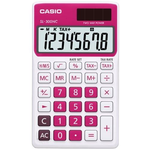 Casio SL-300NC-RD Calcolatrice Tascabile, Display a 8 Cifre, Bianco/Rosso