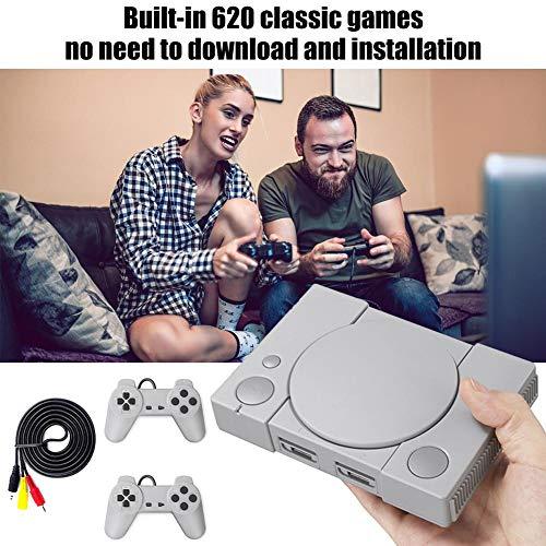 Console jeu rétro 2 manettes sensibles, Built-in 620 Console jeux vidéo classique, Mini-console 8 bits PS1, Console jeu bataille double Playstation, Cadeau de Noël pour enfant adulte et anniversaire