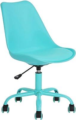 FURNISH 1 Silla de Oficina ejecutiva de Color Azul Respaldo de PU Diseño Mediano Aseo Ajustable
