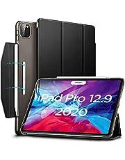 ESR iPad Pro 12.9 ケース 2020 オートスリープ/ウェイク [Apple Pencil 2 ワイヤレス充電対応] 軽量 留め具付き イッピー三つ折りスマートケース iPad Pro 12.9インチ 2020用ハード背面カバー(ブラック)