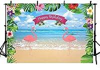 新しい7x5ft夏のフラミンゴの女の子の誕生日の写真の背景アロハフローラルトロピカルレッツフラミンゴガールビーチ海のパーティーの装飾ルアウハワイアンフォトスタジオブースの背景バナー