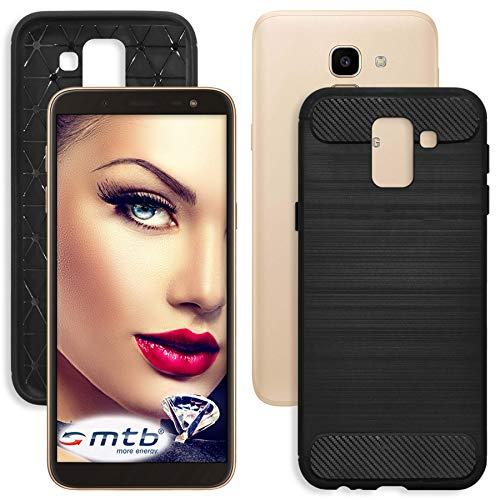 mtb more energy® Custodia Carbon per Samsung Galaxy J6 2018 (SM-J600, 5.6'') - Nero - Flessibile - TPU Silicone Case Cover