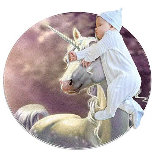 Unicornio blanco Alfombrilla gateo bebés redonda