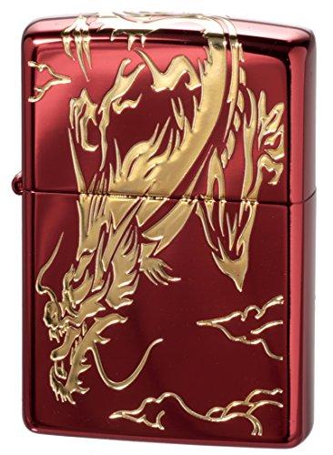 【ZIPPO】 ジッポーライター オイル ライター ドラゴン 三面龍イオンレッドG エッチング イオンレッド&ゴールド