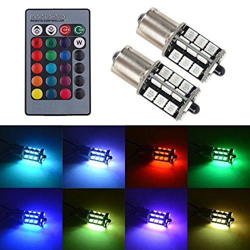 1156 LED RGB Bulb Amber White Red Multicolor 16 Color Changing Brake Lights Turn Signal Reverse Tail Bright Strobe Car Trunk Remote Control Switch Kit Error Free Plug 12V 5050SMD Replacement【1797】