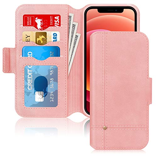 Skycase Compatible for iPhone 12 Case/Compatible for iPhone 12 Pro Case 5G,Ultra Slim Handmade Flip Folio Wallet Case with Card Slots and Kickstand for iPhone 12/12 Pro 6.1 inch 2020,Rose Gold