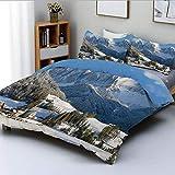 Juego de funda nórdica, paisaje de pueblo de montaña en invierno con picos nevados Zona norte Spot Alps PhotoDecorative Juego de ropa de cama de 3 piezas con 2 fundas de almohada, blanco, azul, verde,