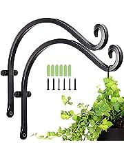 SDFFA 2 stuks zware ijzeren hangmand, beugels plantenhaken, zware plantenhaak, hand gesmede tuinwandhaak, met schroeven, gebruikt voor vogelvoeders, windklokken, lantaarns, landhuisdecoratie