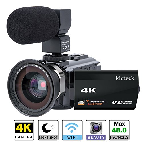 Video Camera Camcorder 4K kicteck Ultra HD Digital WiFi Camera 48.0MP 3.0 inch Touch Screen...