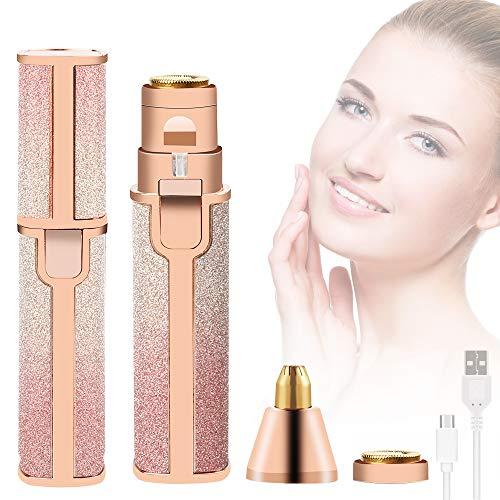 Depiladora Facial Mujer, 2 en 1 Eléctrica Depiladora Cejas Afeitadora Removedor de Vello Maquina Depilar Facial USB Recargable Impermeable Portátil sin Dolor Luz LED