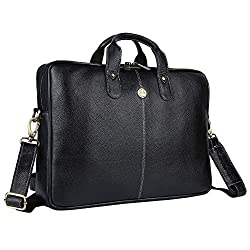 Hammonds Flycatcher Original Bombay Brown Leather 15.6 inch Laptop Messenger Bag|Padded Laptop Compartment|Office Bag (L=15.6,B=3.75,H=10.75 inch) LB106BLK (Black),Hindustan Foam,LB106BLK