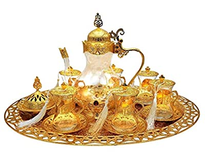 Traditional Ottoman Style Turkish Tea Set for 6 including Large Tray and Teapot Zinc Alloy and Glass (Gold)