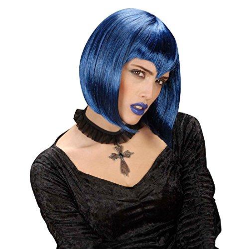 NET TOYS Gothic Kreuz Kette Edelstein Kreuzkette schwarz Vampir Kette Gothic Halsband Halloween Halskette Kostüm Accessoire Halloween
