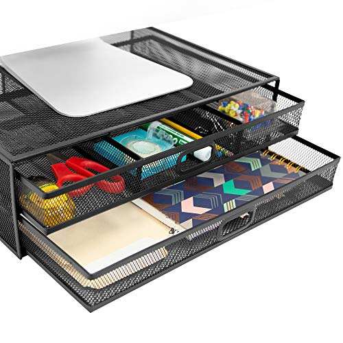 MOUNT-IT! Mesh Computer Monitor Stand Riser [Metal] Desk Organizer with Two Pullout Storage Drawers for Desktop, Laptop, and Printer Accessories and Office Supplies (Black)
