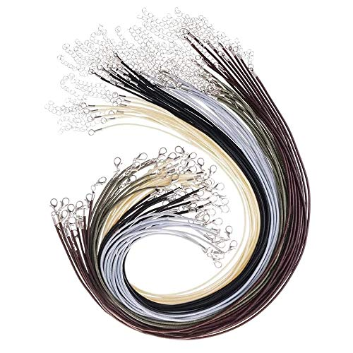 50 Stück Lederkette Ohne Anhänger Lederband Kette ist aus Hochwertigem Wachs-Baumwollfaden Gefertigt,XCOZU Halskette Schnur mit Karabinerverschluss und Kette für DIY Schmuckband Herstellung(2mm)