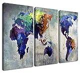 Ardemy Lienzo Cuadro Mapa del Mundo 3 Paneles Vintage Abstracto Pintura, Enmarcado Antiguo Mapa...