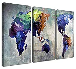 Ardemy Canvas World Map Wall Art Watercolor
