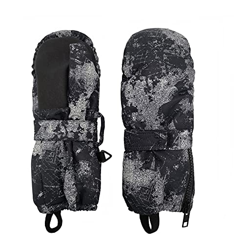 HIGHCAMP Kids Zippered Ski Mittens Easy on Stay on Waterproof Winter Snow Gloves, L (8-10 Y)