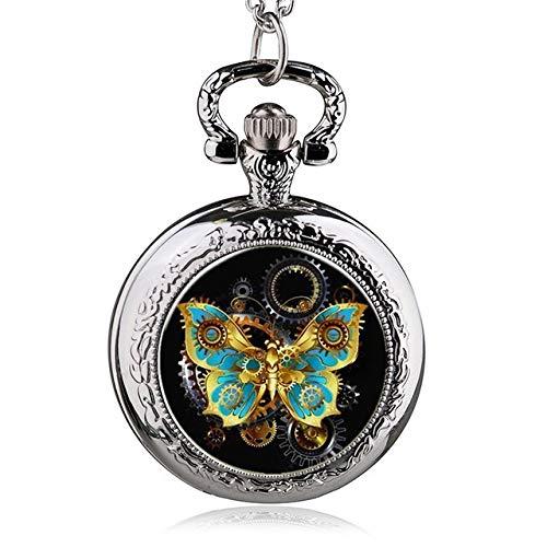 Silberfarbene Halskette Kette Schmetterling Quarz Taschenuhr 85Cm Schmuck Uhren Für Kinder
