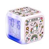 TCJJ Despertador Unicornio para Niñas,Reloj Despertador Digital con 7 Colores Luz de Noche para Infantil,Hora Alarma Temperatura Fecha de Visualización (Rosa)