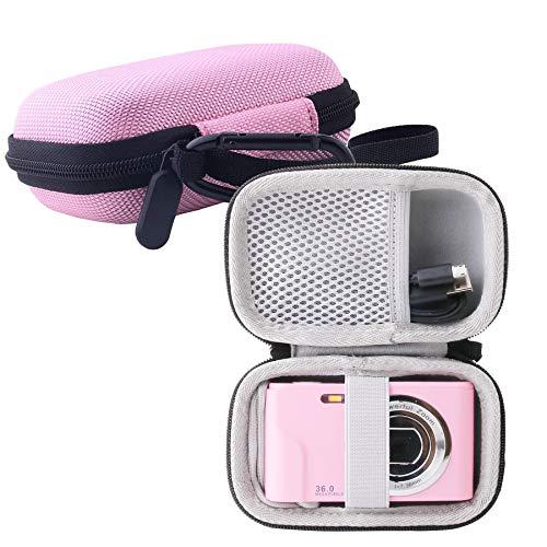 WERJIA Kids Camera Case for Lecran/Actinow/Canon PowerShot ELPH 180 Digital Camera and More Brands Kids Camera (Pink)