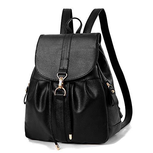 Mini Babala Women's Vintage PU Leather Backpack Handbags, Faux Leather Casual Daypack Travel Backpack, Small School Bag for Teenage Girl, 07schwarz, Einheitsgröße