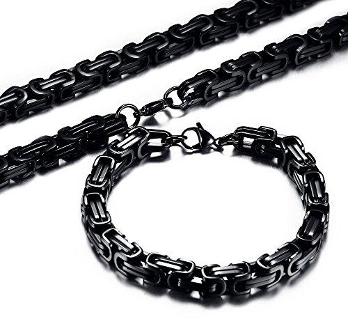 Men's Stainless Steel Mechanic Black Chunky Byzantine Chain Bracelet and Necklace Set