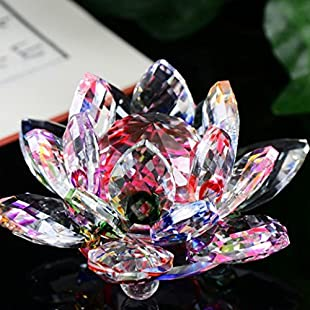 Xshuai 60MM Glass Crystal Lotus Flowers Figure Paperweight Ornaments Art Craft Table Decoration for Christmas Home Wedding Party Feng Shui Decor Collection (Colorful):Donald-trump