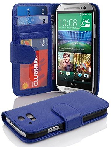 Cadorabo Hülle für HTC ONE M8 (2. Gen.) in Neptun BLAU – Handyhülle mit Magnetverschluss und 3 Kartenfächern – Case Cover Schutzhülle Etui Tasche Book Klapp Style