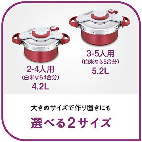 ティファール圧力鍋4.2LIH対応2~4人用ワンタッチ開閉2in1クリプソミニットデュオレッドP4604236T-fal