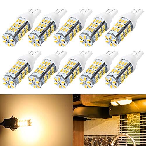 DEFVNSY - Förpackning med 10 - Varm vit T10 921 194 42-SMD 12 V LED-lampor glödlampor för RV släpvagn belysning backup omvänd ljus sida markör ljus
