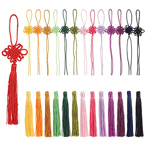 PandaHall 14 colores chino nudo borla colgante decoraciones 28pcs colgante hecho a mano, cordón chino anudado para la decoración de la joyería Año Nuevo chino