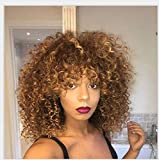 Short Curly Wig for Black Women with Bangs Big Bouncy Fluffy Ombre Blonde Afro Short Kinky Curly Wig Soft Synthetic Ombre Short Curly Afro Wig for Black Women