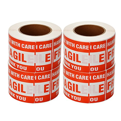 SJPACK 4 Rolls 3'' x 5'' Fragile - Handle with Care - Thank You Shipping Labels Stickers (500 Labels/Roll)