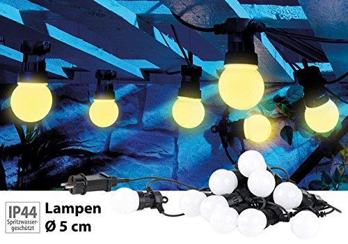 Lunartec Lichterkette Garten: Party-LED-Lichterkette m. 10 LED-Birnen, 3 Watt, IP44, warmweiß, 4,5 m (Lichterkette mit Glühbirnen)