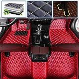 Custom Car Floor Mats for Honda Civic 2005-2011, 2012-2015, 2016-2019 Luxury Leather Waterproof Anti-Skid Full Coverage Liner Front & Rear Mat/Set (red)