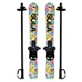 Sola Winnter Sports Kid's SLKS103 Beginner Snow Skis and Poles with Bindings Age 2-4 (Gaggle), 37.25 x 3.5 inch