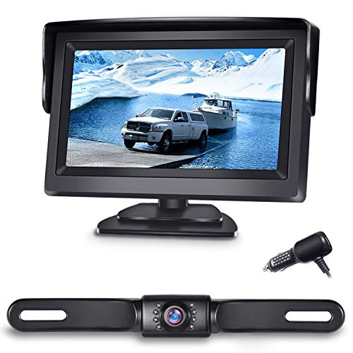 eRapta Backup Camera ERT01 with 4.3 inch Monitor License Plate Back Up Camera for Car Pickup Truck SUV Rear View Camera Backing Reverse Camera Crystal Clear Image IP69 Waterproof Nice Night Vision