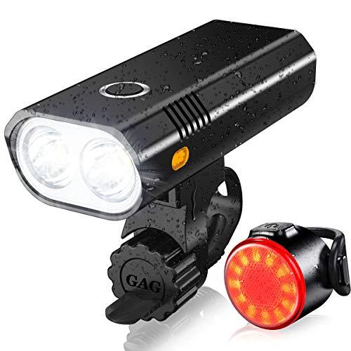 ASUNND Luces Bicicleta, Luz Bicicleta LED Impermeable, Luz de Bicicleta Recargable por USB, Lámpara Súper Potente de 800 Lúmenes, Iluminación de 5 Modos, Luz Bicicleta Delanteras Luz Trasera Kit