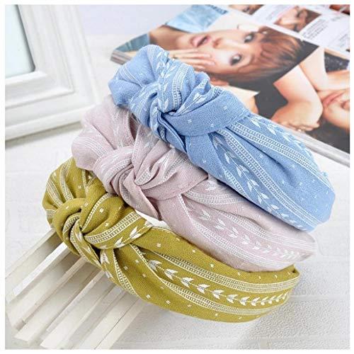 KUANGWENC Bandas para el pelo dulce de las mujeres de tela anudando las hojas de moda banda ancha diadema linda chica accesorios de yoga 3 piezas