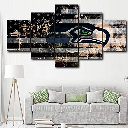 LQHQT Leinwanddrucke,Moderne Hauptdekoration Malerei 5 Stück Seattle Seahawks Poster Modular Kunstwerk Bild (Kein Rahmen) 30 * 40Cm * 2 30 * 60Cm * 2 30 * 80Cm