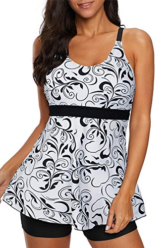 Zando Womens Two Piece Swimsuits Tummy Control Bathing Suit Printed Tankini Top with Boyshort Swimming Suit Slimming Swimdress Modest Swimwear for Women White Black Print M (US 6-8)